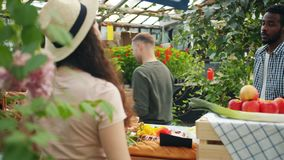 Customers buying organic food in greenhouse sale talking to shop assistant. Customers multiethnic group buying fresh organic food in greenhouse sale talking to stock video footage