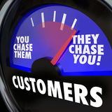 Customers They Chase You Gauge Measure Marketing Demand. Customers word on a gauge and needle rising to They Chase You to illustrate strong or high demand for Stock Photography