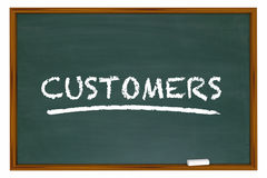 Customers Clients New Prospects Chalk Board Word Stock Photo