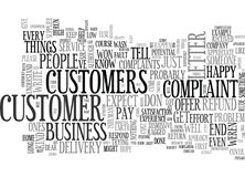When Customers Complain Word Cloud. WHEN CUSTOMERS COMPLAIN TEXT WORD CLOUD CONCEPT Royalty Free Stock Images