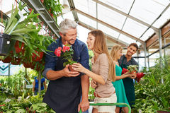 Customers and employees talking in nursery shop. Customers and employees talking in a nursery shop together royalty free stock photo