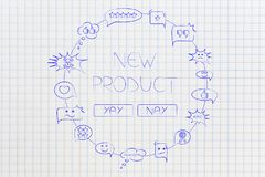 New product survey Yay or Nay surrounded by mixed customers comm Royalty Free Stock Photo