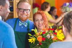Customers and Florists in Shop Royalty Free Stock Images