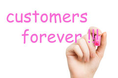 Customers forever pink marker Stock Photo