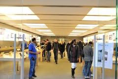 Customers inside Apple store Stock Image