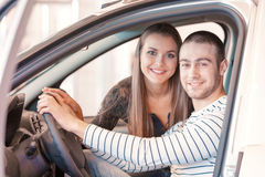 Customers inside the new vehicle Stock Photos