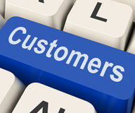 Customers Key Means Consumer Or Buyer. Customers Key On Keyboard Meaning Client Consumer Or Buyer stock illustration