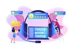Customer feedback concept vector illustration. Customers at laptop and headset giving thumb up, rating stars. Customer feedback, customer rating feedback stock illustration