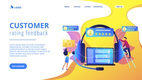 Customer feedback concept landing page. Customers at laptop and headset giving thumb up, rating stars. Customer feedback, customer rating feedback, customer stock illustration