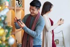 Customers choosing decorations Royalty Free Stock Image