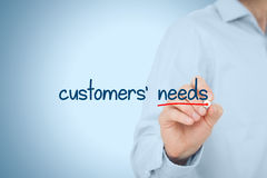 Customers needs. Concept. Marketing specialist think about customer needs, represented by text written on virtual board stock photo