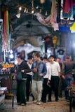 Customers on night old bazaar in Jerusalem Stock Photography