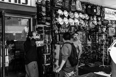 Customers novelty shop Black and White Royalty Free Stock Images