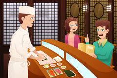 Customers ordering sushi. A vector illustration of customers ordering sushi in a restaurant Stock Photography