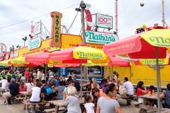 Customers at the original Nathan's Famous hot dogs stand in Cone Royalty Free Stock Images