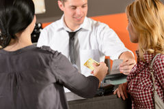 Customers paying by credit card Royalty Free Stock Image