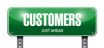 Customers road sign illustration design Stock Photos