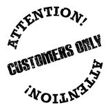 "Customers only. A rubber stamp style illustration with the text ""Attention! Customers only Stock Photos"