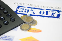 Customers service. Sales graph fountain and euro coins Stock Image