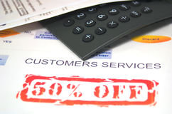 Customers services 2. Sales and graph and calculator Royalty Free Stock Photos