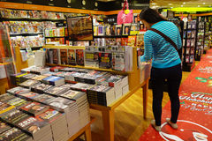 Customers shop for books in Changi Airport, Singapore Stock Photos