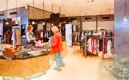 Customers in shop. Watercolor style royalty free stock images