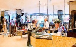 Customers in shop. Watercolor style stock photo