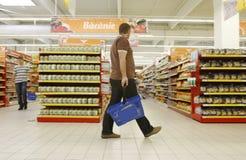 Customers shopping at supermarket royalty free stock photo