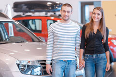 Customers in showroom stock photo