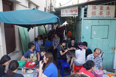 Customers sit at the table in the traditional kopitiam cafe in P Stock Images
