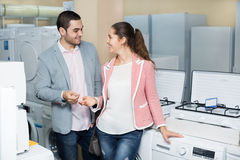 Customers in small domestic appliances section Royalty Free Stock Photos