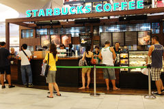 Customers at Starbucks Coffee Stock Photography