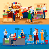 Customers Of Supermarket Compositions. With choice of products and queue to cashier  vector illustration Stock Images