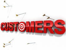 Customers target. Get more customer, arrows hitting the bulls eye and some missing it and falling on the white wall, concept of target marketing, success and Royalty Free Stock Photo