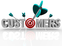 Customers - Target and Arrows Hit the Word royalty free illustration