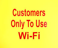Customers Only To Use Wi-Fi sign Royalty Free Stock Photography
