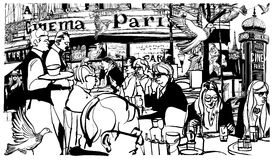 Customers at traditional outdoor Parisian cafe Royalty Free Stock Photography