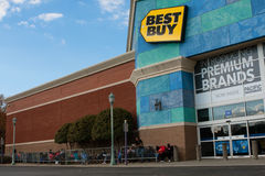 Customers Wait Outside Best Buy For Black Friday Shopping Stock Photography