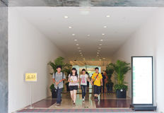 Customers walking out of the mall. Sun An mall, Beijing,China royalty free stock image