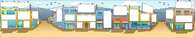 Customisable Buildings Facades. Image illustrating buildings' facades in a small district. Place seems calm. The billboards placed on the facades are blank so Vector Illustration