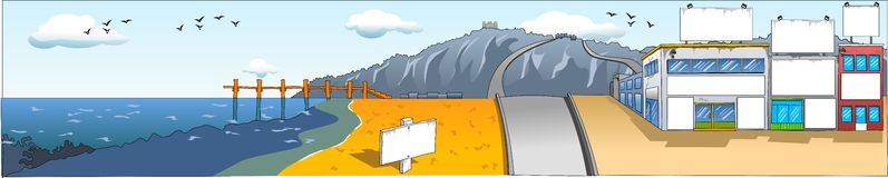 Customisable Sea View. Illustration of small area in a coastal city. The road is passing through city and the grey mountains, crossing a small boardwalk Royalty Free Illustration