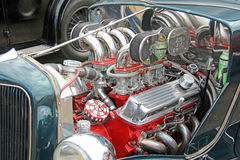 Customised chrome super engine. Photo of a customised chrome ford engine at whitstable car show 21st august 2016.ideal for vintage travel,cars etc Stock Photo