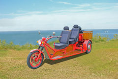 Customised trike motorcycle. Photo of a customised trike motorbike on show at whitstable tankerton slopes Royalty Free Stock Image