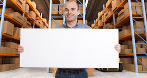 Customizable Announcement at warehouse b Stock Images