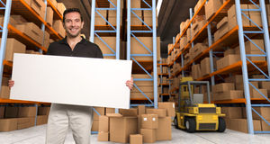 Customizable Announcement at warehouse a Stock Images