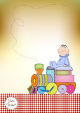 Customizable baby shower card with train Stock Image