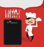 Customizable Background with Chef. Culinary theme retro background with chef and customizable spaces Royalty Free Stock Image