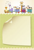 Customizable birthday card with animal toys train Royalty Free Stock Photography