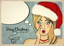 Customizable härlig retro julkort med det sexiga stiftet upp San Arkivfoton
