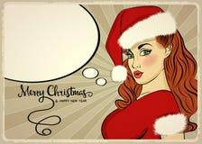 Customizable härlig retro julkort med det sexiga stiftet upp San Arkivfoto